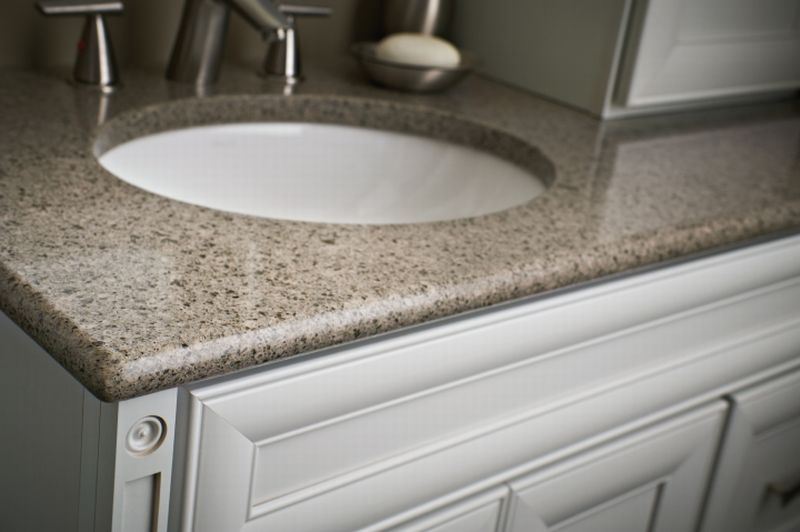 Countertop Eased Edge : Detail of Olive Ovation Natural Quartz Vanity Top with Bullnose Edge