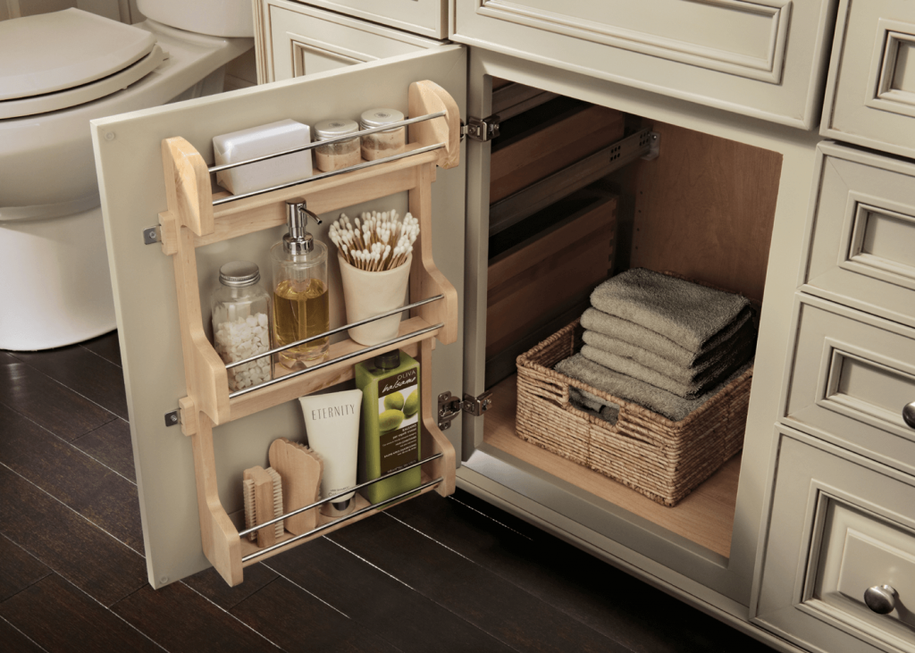 9 ways to organize your kitchen bath and bar with for Kraftmaid storage solutions